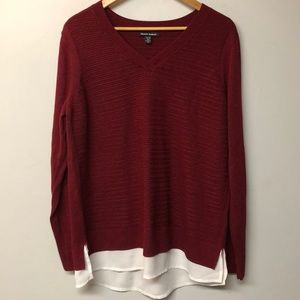 NWOT Hilary Radley Red Woven Sweater, white trim